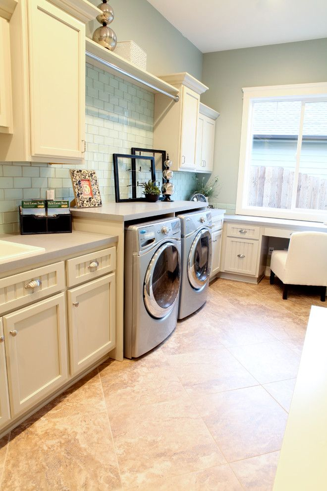Thrasher Basement for a Traditional Laundry Room with a Green Tile and Parade Home 2011 by Valiant Design