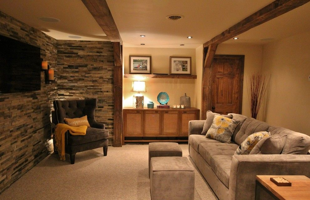 Thrasher Basement for a Transitional Home Theater with a Wine Cellar and Basement Makeover by Flatbrook & Co
