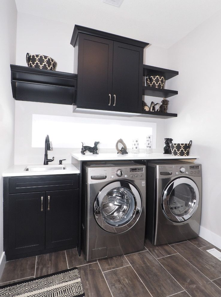 Thrasher Basement for a Transitional Laundry Room with a Tile Floor and Main Floor Laundry Room by Tiffany Mackinnon