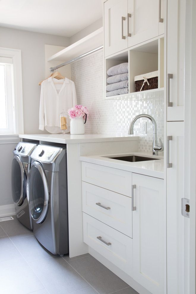 Thrasher Basement for a Transitional Laundry Room with a Vase and Courtsfield Ave. by Barlow Reid Design