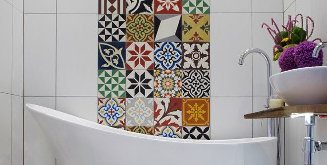 Tile Outlets of America for a Mediterranean Bathroom with a Encaustic Tile and Bathroom by Cassidy Hughes Interior Design & Styling
