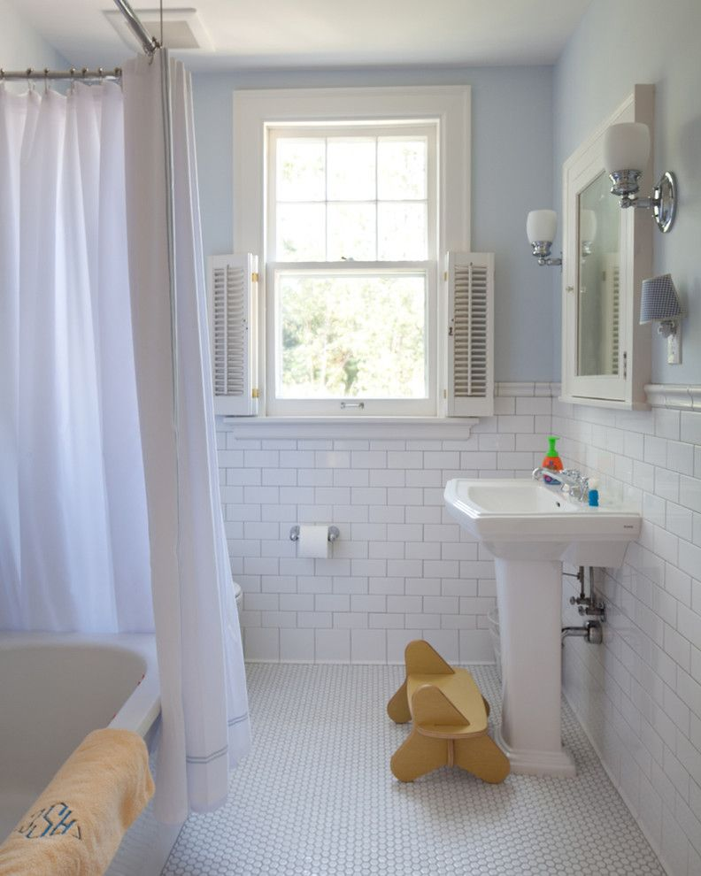 Tile Outlets of America for a Traditional Bathroom with a Subway Tile and West Isles Kid's Bath by Vujovich Design Build, Inc.