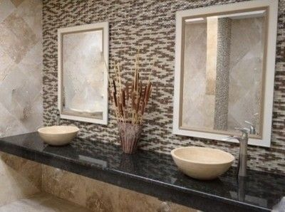 Tile Outlets of America for a Traditional Bathroom with a Travertine Vessel Sink Dimensional Mosaic and Tile Outlets of America Restroom Remodel by Tile Outlets of America