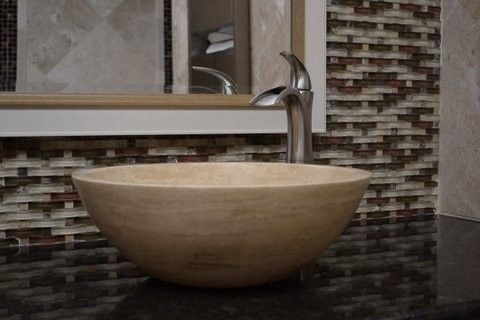 Tile Outlets of America for a Traditional Spaces with a Travertine Vessel Sink Dimensional Mosaic and Tile Outlets of America Restroom Remodel by Tile Outlets of America