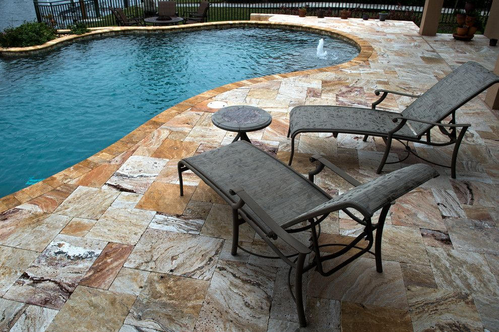 Tile Outlets of America for a Tropical Spaces with a Glass Mosaic Pool Tiles and Travertine Pool Decking by Tile Outlets of America Sarasota