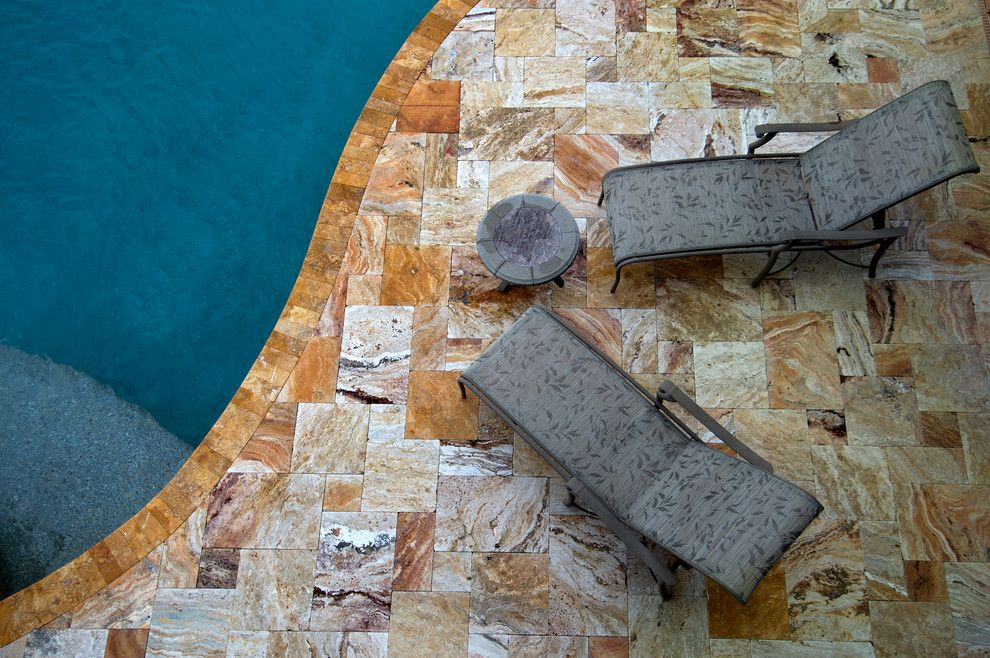 Tile Outlets of America for a Tropical Spaces with a Travertine Pool Surround and Travertine Pool Decking by Tile Outlets of America Sarasota
