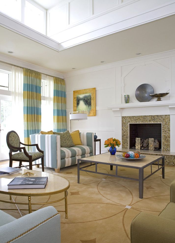 Tiled Fireplaces for a Contemporary Family Room with a Window Treatments and Great Room by Sroka Design, Inc.