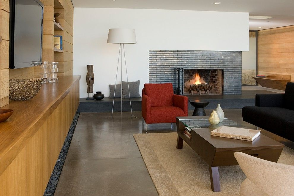 Tiled Fireplaces for a Contemporary Living Room with a Walnut and Living Room by Ohashi Design Studio