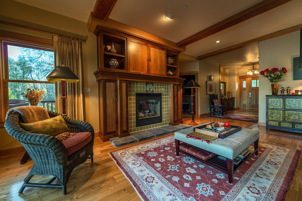 Tiled Fireplaces for a Craftsman Living Room with a Ottoman Tray and Rookwood Tile Fireplace by Wren & Willow, Inc.