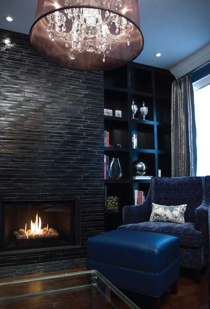 Tiled Fireplaces for a Eclectic Living Room with a Black Tile Fireplace and Black & Navy Elegance by Lucid Interior Design Inc.