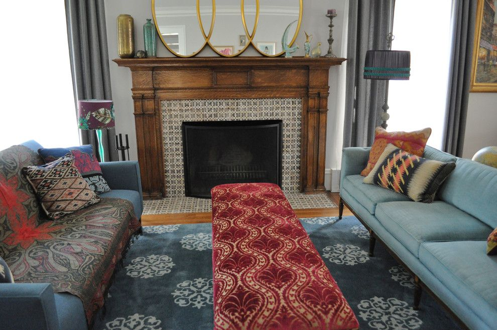 Tiled Fireplaces for a Eclectic Living Room with a Fireplace Mantel and Living Room by Rebekah Zaveloff | Kitchenlab
