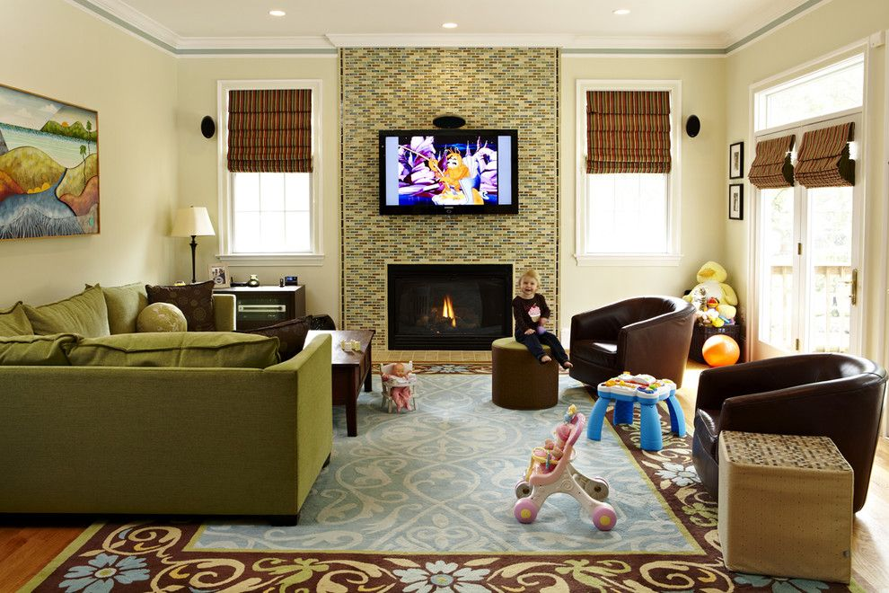 Tiled Fireplaces for a Traditional Family Room with a Green Sofa and Garrett Park by Designing Solutions