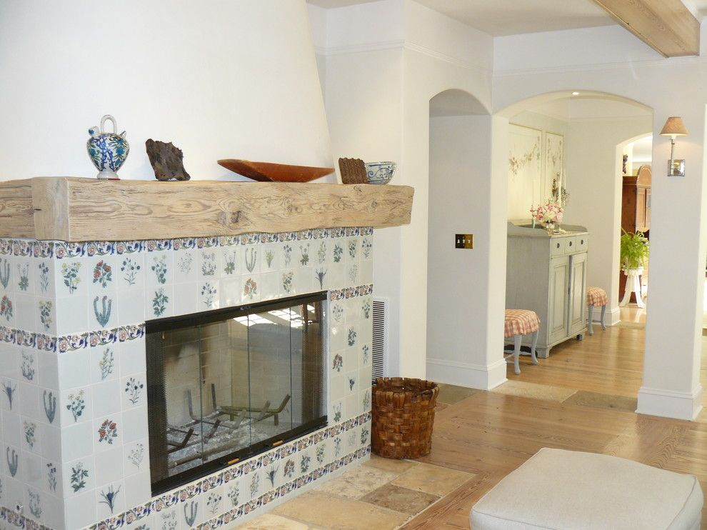Tiled Fireplaces for a Traditional Living Room with a Basket and Custom Fireplace by Howard Bankston & Post