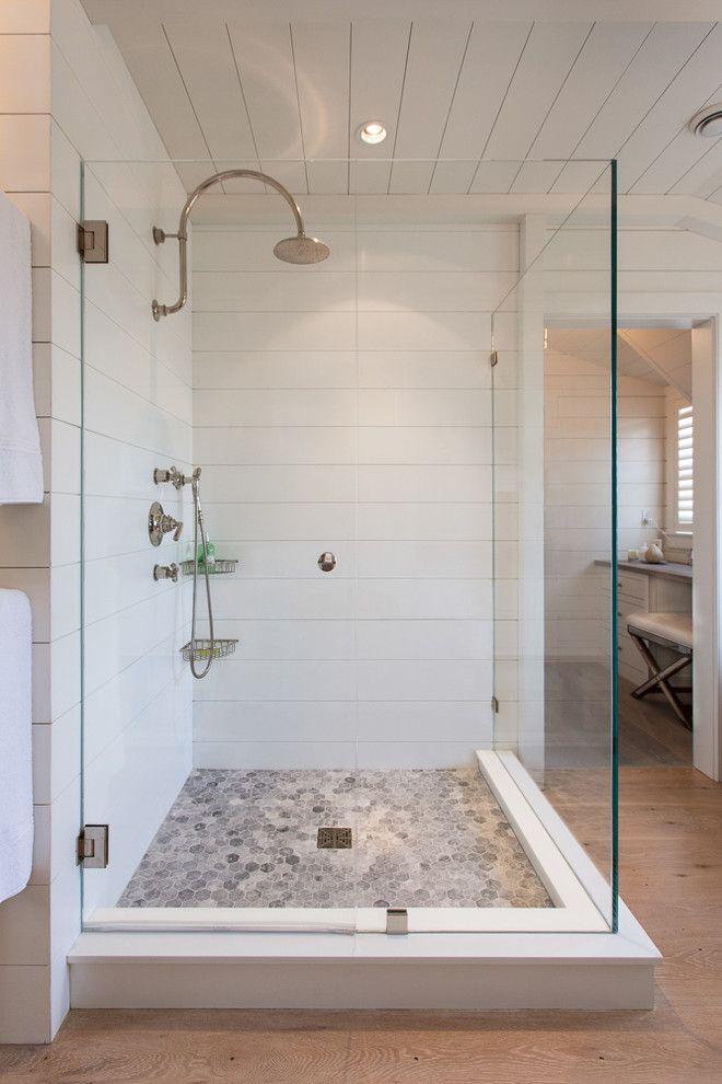 Tiled Shower Ideas for a Beach Style Bathroom with a Corner Shower and Cliff Road Area   Nantucket by Jonathan Raith Inc.