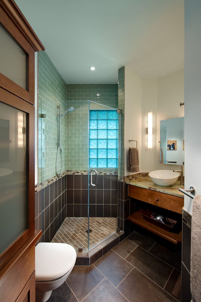 Tiled Shower Ideas for a Craftsman Bathroom with a Blue Tile Shower Wall and Bungalow Update by Fisher Group Llc