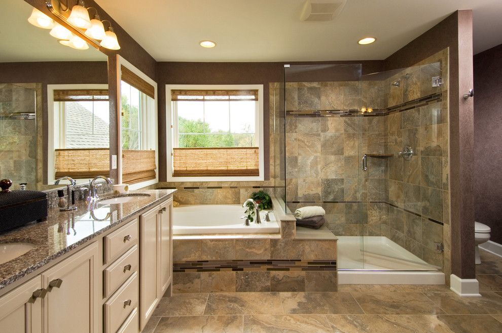 Tiled Shower Ideas for a Traditional Bathroom with a Award Winning Master Bathroom and 2011 Saratoga Showcase of Home by Belmonte Builders