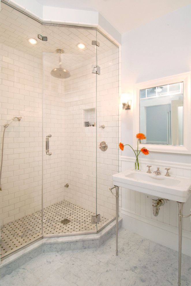 Tiled Shower Ideas for a Traditional Bathroom with a Orange Flowers and Cambridge Greek Revival Master Bath by Downer / Associates