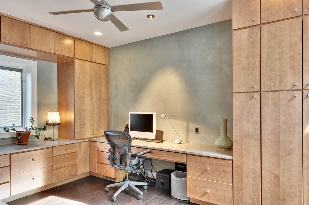 Tilson Homes for a Contemporary Home Office with a Wood Cabinets and Home Office by Echelon Custom Homes