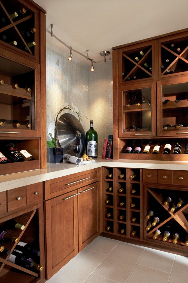 Timberlake Cabinets for a  Wine Cellar with a Wine Rack and Cabinetry by Elevations | Design Solutions by Myers