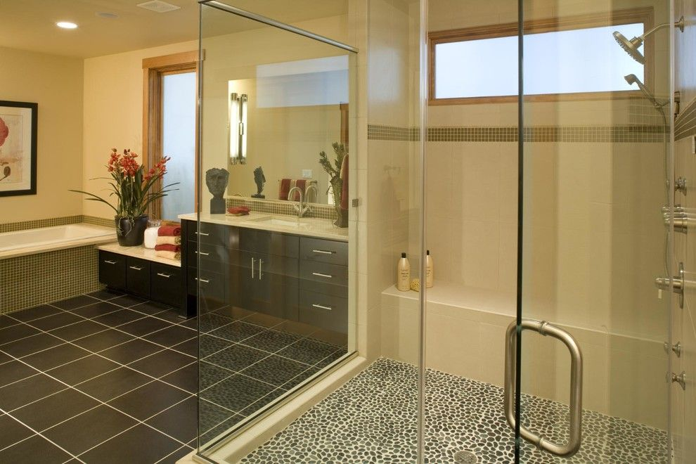 Timberland Homes for a Contemporary Bathroom with a Built Green and Leschi Custom Modular Home by Timberland Homes Inc.