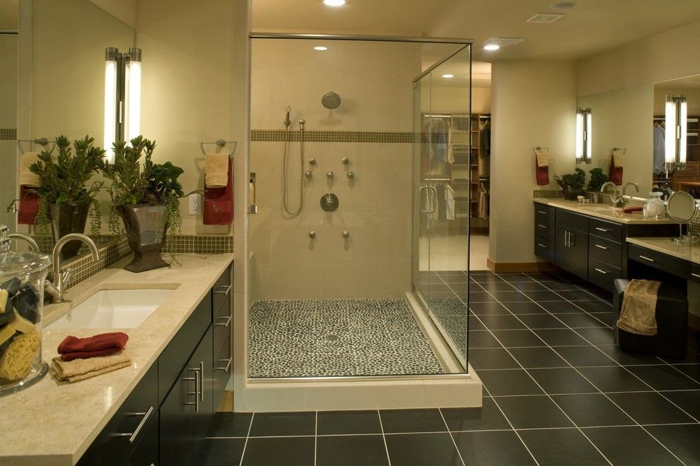Timberland Homes for a Contemporary Bathroom with a Master Bathroom and Leschi Custom Modular Home by Timberland Homes Inc.
