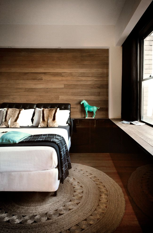Timberpeg for a Contemporary Bedroom with a Wood Panel Walls and Potts Point 1 Bedroom by Darren Palmer Interiors