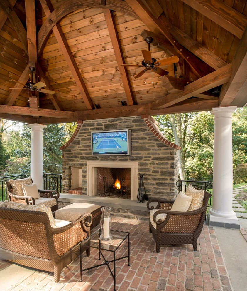 Timberpeg for a Traditional Patio with a Hearth and Timber Framed Pavilion by Hugh Lofting Timber Framing, Inc.
