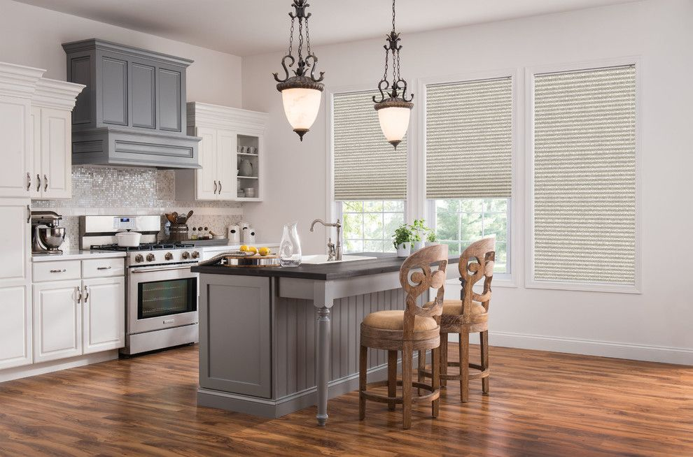 Timberpeg for a Transitional Kitchen with a Shutter and Printed Cellular Shades by Budget Blinds
