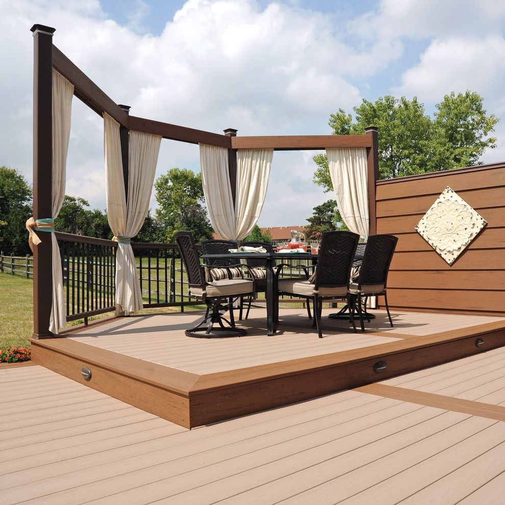 Timbertech for a Traditional Deck with a Traditional and Timbertech Earthwood Evolutions Terrain Collection Sandy Birch by Timbertech