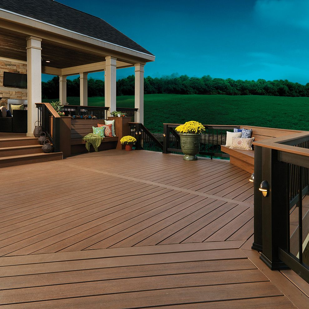 Timbertech for a Traditional Deck with a Traditional and TimberTech Earthwood Evolutions Tropical Collection Pacific Walnut by TimberTech