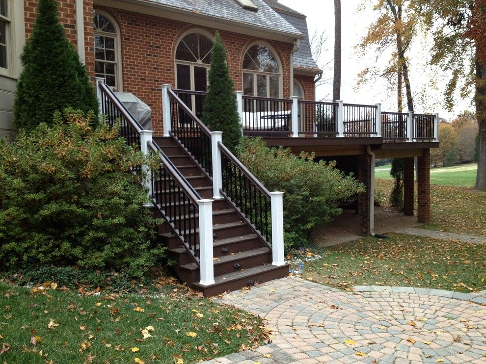 Timbertech for a Traditional Porch with a Brick Piers and Reeds Landing Deck Rebuild with TimberTech XLM by Paragon Construction Company LLC