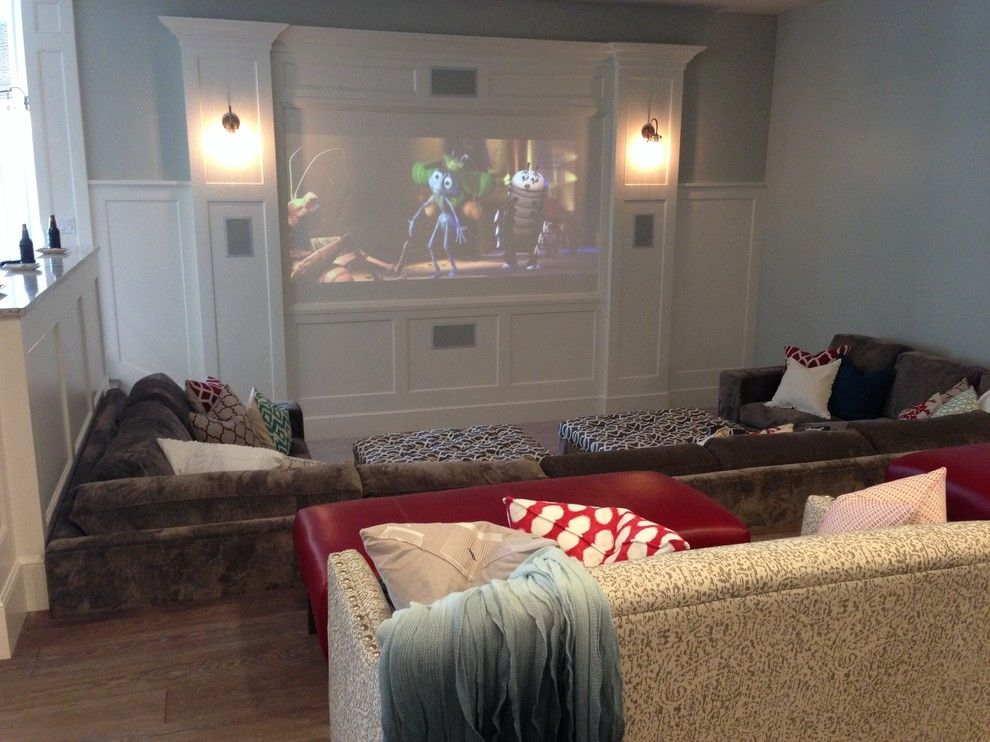 Titan Homes for a Farmhouse Home Theater with a Theater Room and Utah Valley Parade of Home Basement by Titan Homes