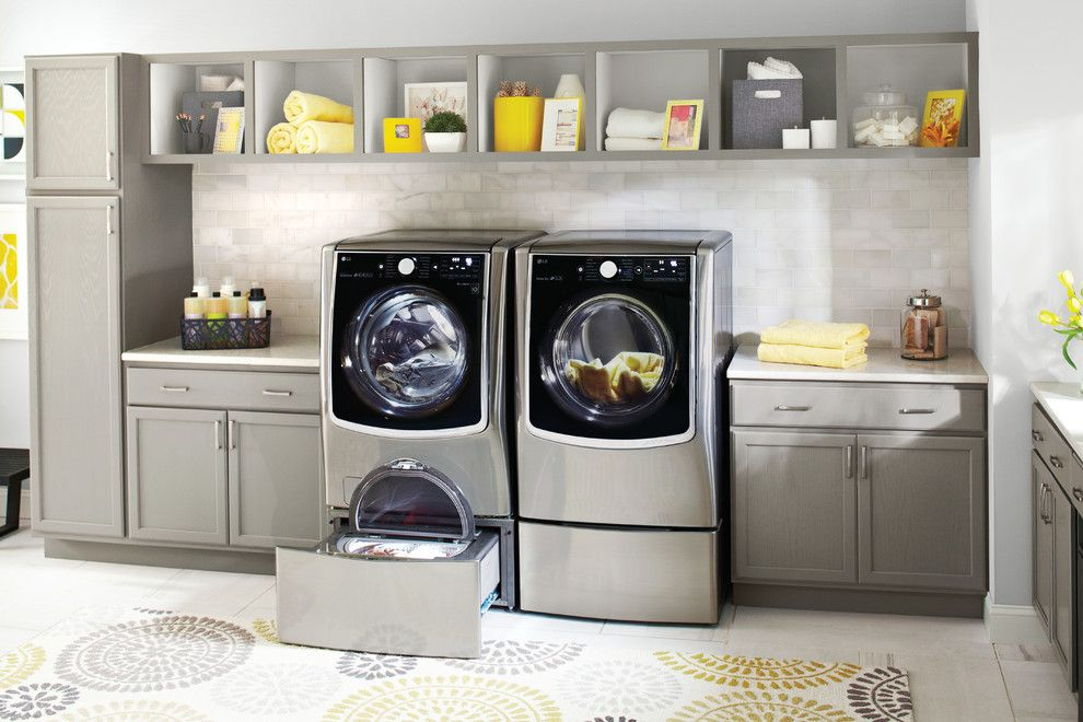 Top Load vs Front Load Washing Machine for a Contemporary Laundry Room with a Open Shelves and Lg Electronics by Lg Electronics
