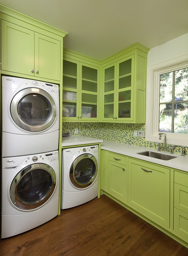 Top Loader vs Front Loader for a Contemporary Laundry Room with a Stackable Washer and Dryer and New Project by Artistic Designs for Living, Tineke Triggs