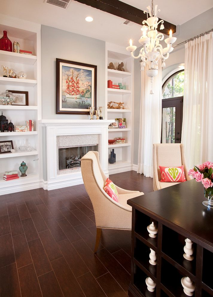 Tradewinds Furniture for a Contemporary Home Office with a Dark Wood Floor and Olympia Hills by P. Scinta Designs, Llc