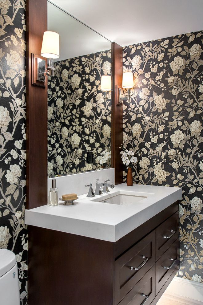 Tradewinds Furniture for a Traditional Powder Room with a Vase and Tradewinds by Tony Colangelo Photography