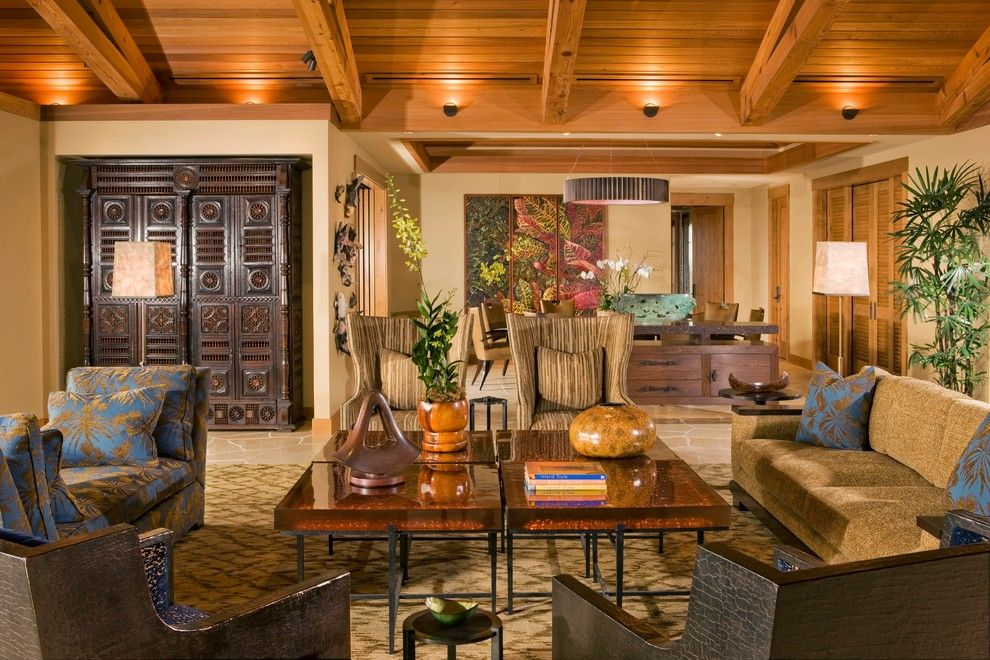 Tradewinds Furniture for a Tropical Living Room with a Donghia and Living Room by Saint Dizier Design