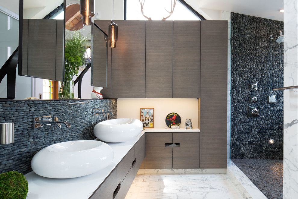 Trash Chute for a Contemporary Bathroom with a Gray Cabinets and Marin Residence by Dawson & Clinton