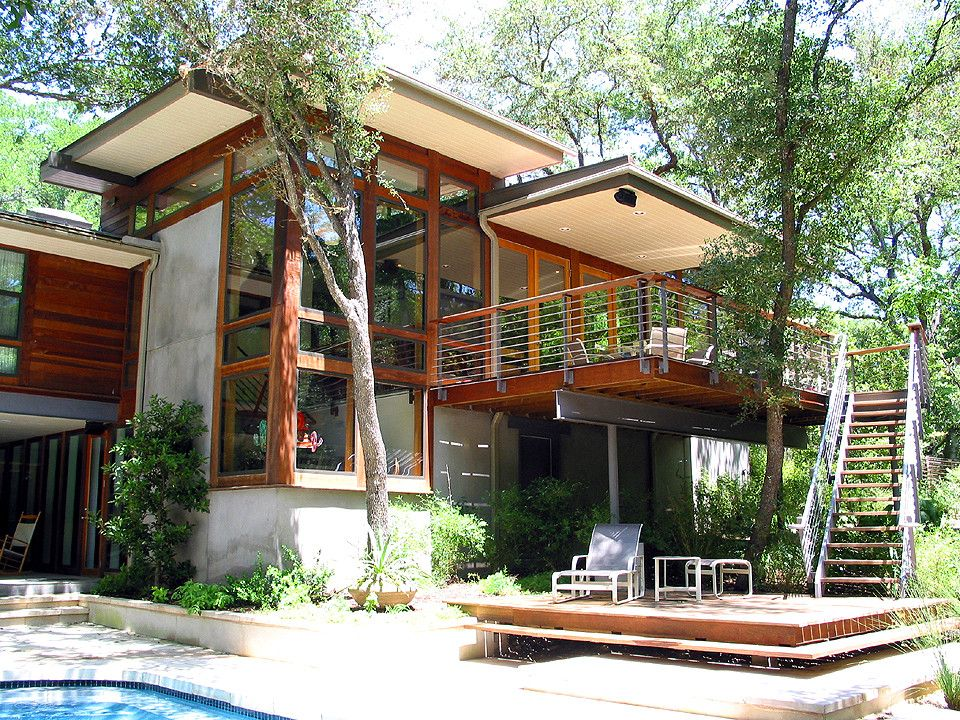 Treehouse Austin for a Modern Exterior with a Exterior Stain and Taylor Slough Creek House Back Elevation by Tom Hurt Architecture