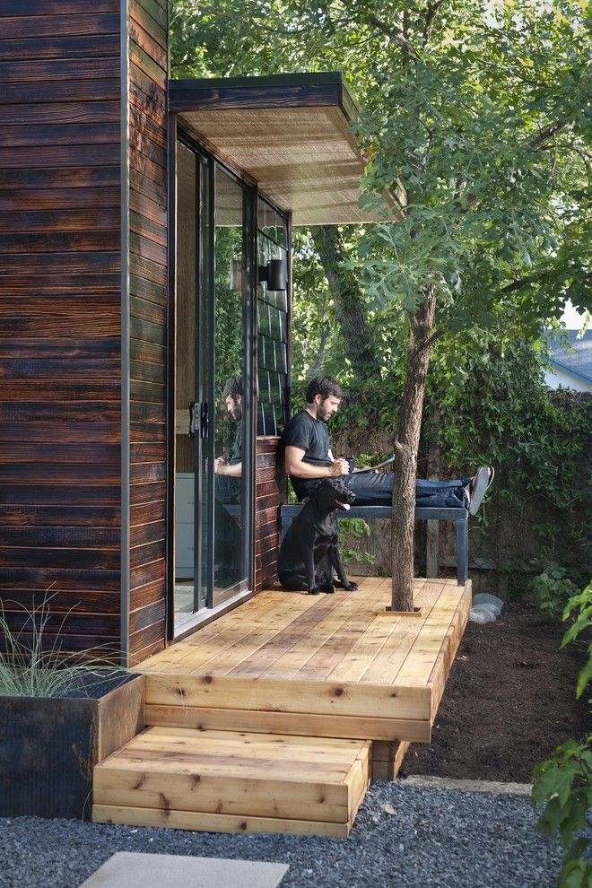 Treehouse Austin for a Modern Home Office with a Addition and 92 Square Foot Backyard Office by Sett Studio