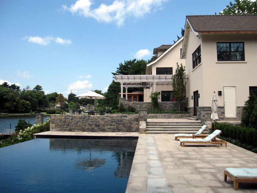 Tremron Pavers for a Transitional Pool with a Modern Site Design and Greenwich Residence by Leap Architecture