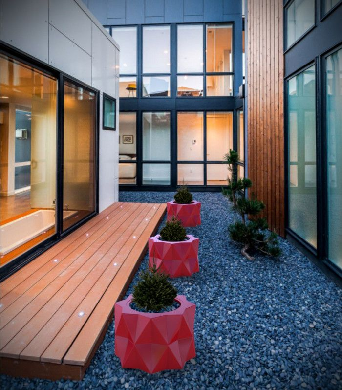 Triangle Bulbs for a Contemporary Patio with a Patio Planters and Buntry Planter (L24.5
