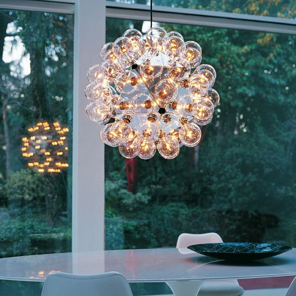 Triangle Bulbs for a Modern Dining Room with a Light and 'Taraxacum 88' Pendant Lamp by Flos (Usa)