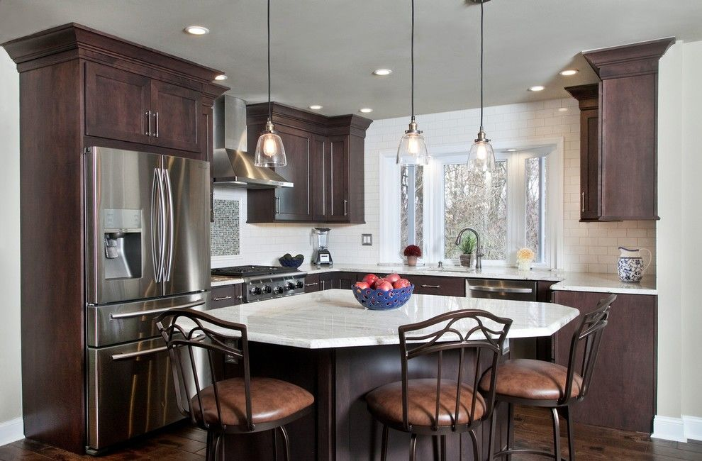 Triangle Bulbs for a Transitional Kitchen with a Shaker Style Cabinets and Philadelphia Kitchen Remodel