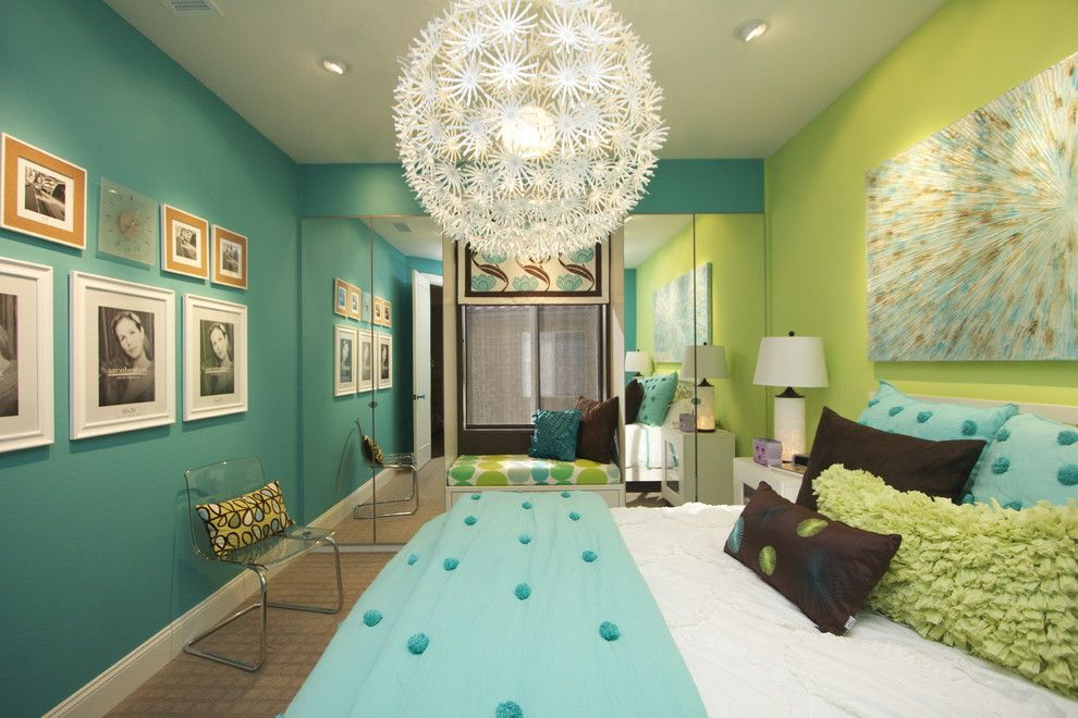 Tribeca Salon for a Modern Kids with a Teal and Girls Bedroom Design Ideas by Robeson Design