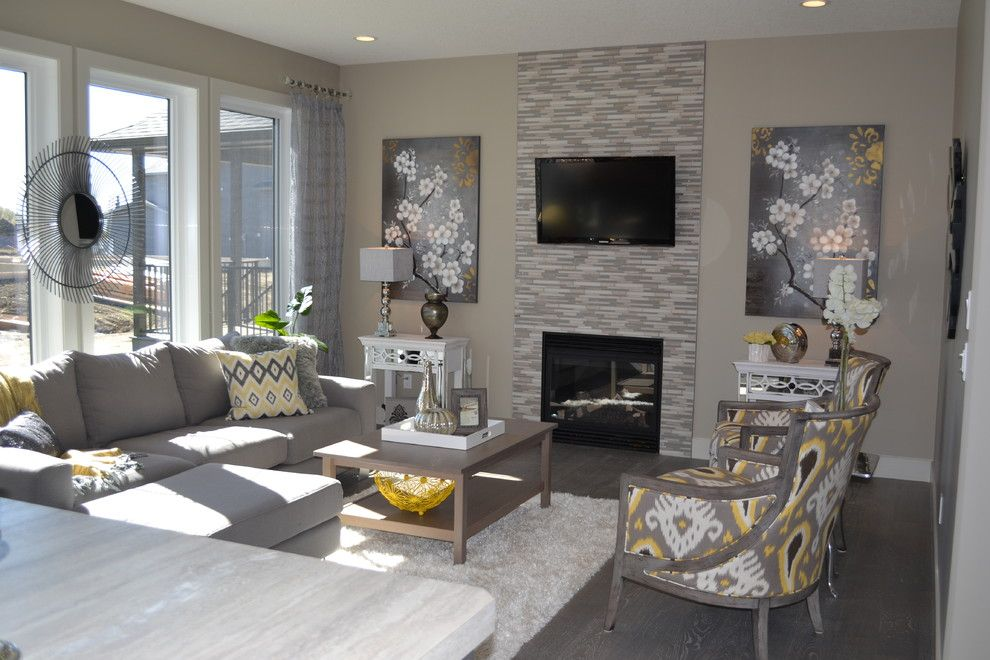 Tribeca Salon for a Modern Living Room with a Yellow and Gray and Valini by Mcgonigal Signature Homes