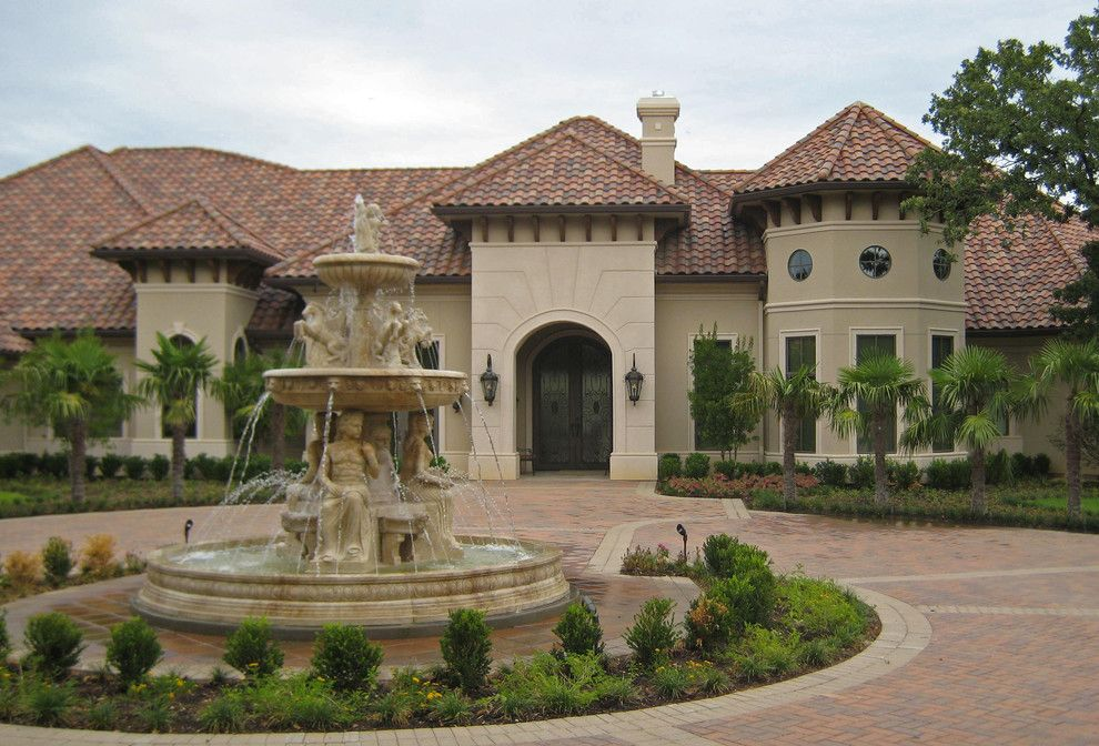 Triton Granite for a Rustic Exterior with a European Style and Travertine Fountain Tx Residence by Italian Marble, Llc