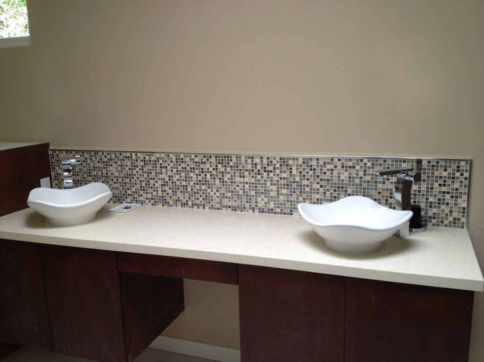 Triton Granite for a Transitional Bathroom with a Top Mount Sinks and Nice N' Neutral by Triton Tile, Inc.