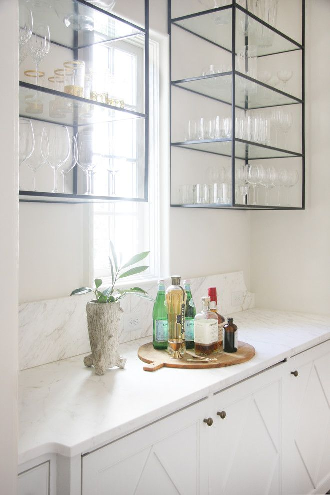 True Homes Charlotte Nc for a Transitional Home Bar with a Glass and Metal Shelving and Charlotte NC - Kitchen by Lisa Sherry Interieurs