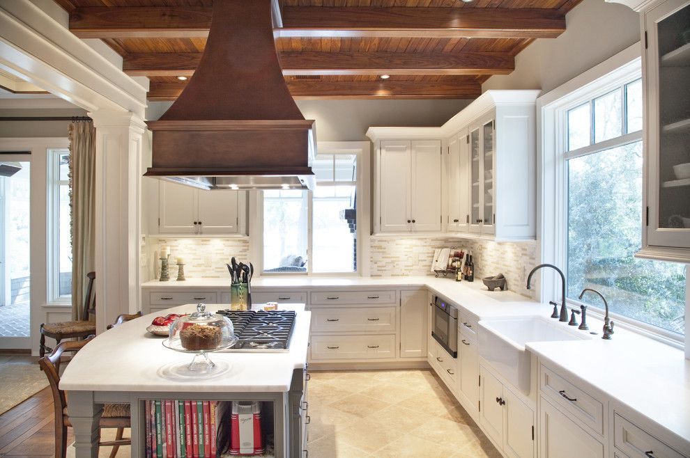 Trulia Charleston Sc for a Traditional Kitchen with a Farm Sink and Elegant Traditional Kitchen Beaded Inset by Carolina Kitchens of Charleston, Inc.